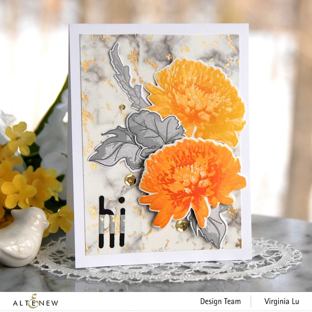 Altenew-BAF Semi Double Chrysanthemum-Foiled Marble Washi Tape-Tall Alpha Die Set