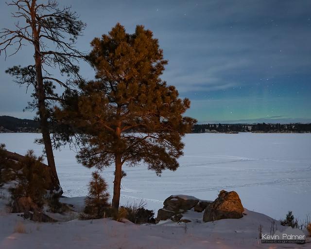 Aurora and Campfire Glow