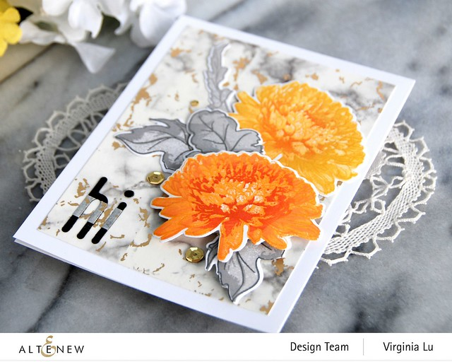Altenew-BAF Semi Double Chrysanthemum-Foiled Marble Washi Tape-Tall Alpha Die Set-002