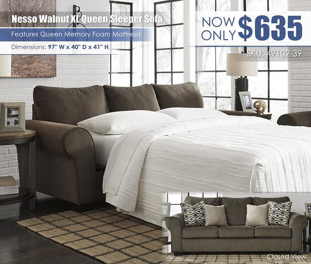 Nesso XL Walnut Queen Sleeper Sofa_49102-39_2021_New
