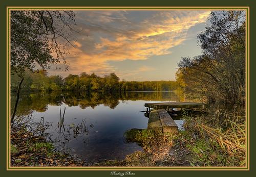 A beautiful english lake at sunset. Uk