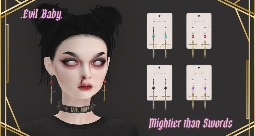 .Evil Baby. - Mightier than Swords earring set - Gold