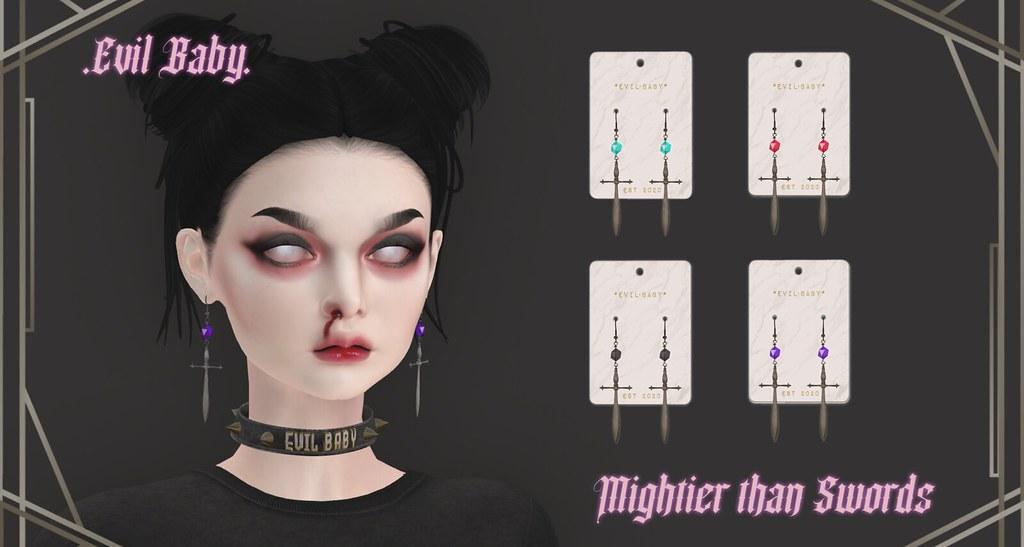 .Evil Baby. – Mightier than Swords earring set – Metal