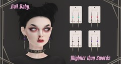 .Evil Baby. - Mightier than Swords earring set - Metal