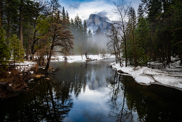 Half Dome Reflection on a Misty Day
