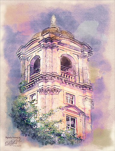 Watercolor image of a tower in Edinburgh, Scotland.