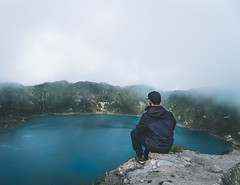 Contemplating the Quilotoa crater lake