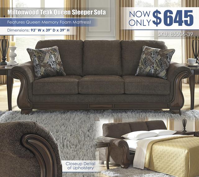 Miltonwood Teak Queen Sleeper Sofa_85506-38-SET