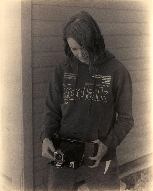 455 - Daughter Jaci holding the Kodak 3-A Folding Brownie Mod. A