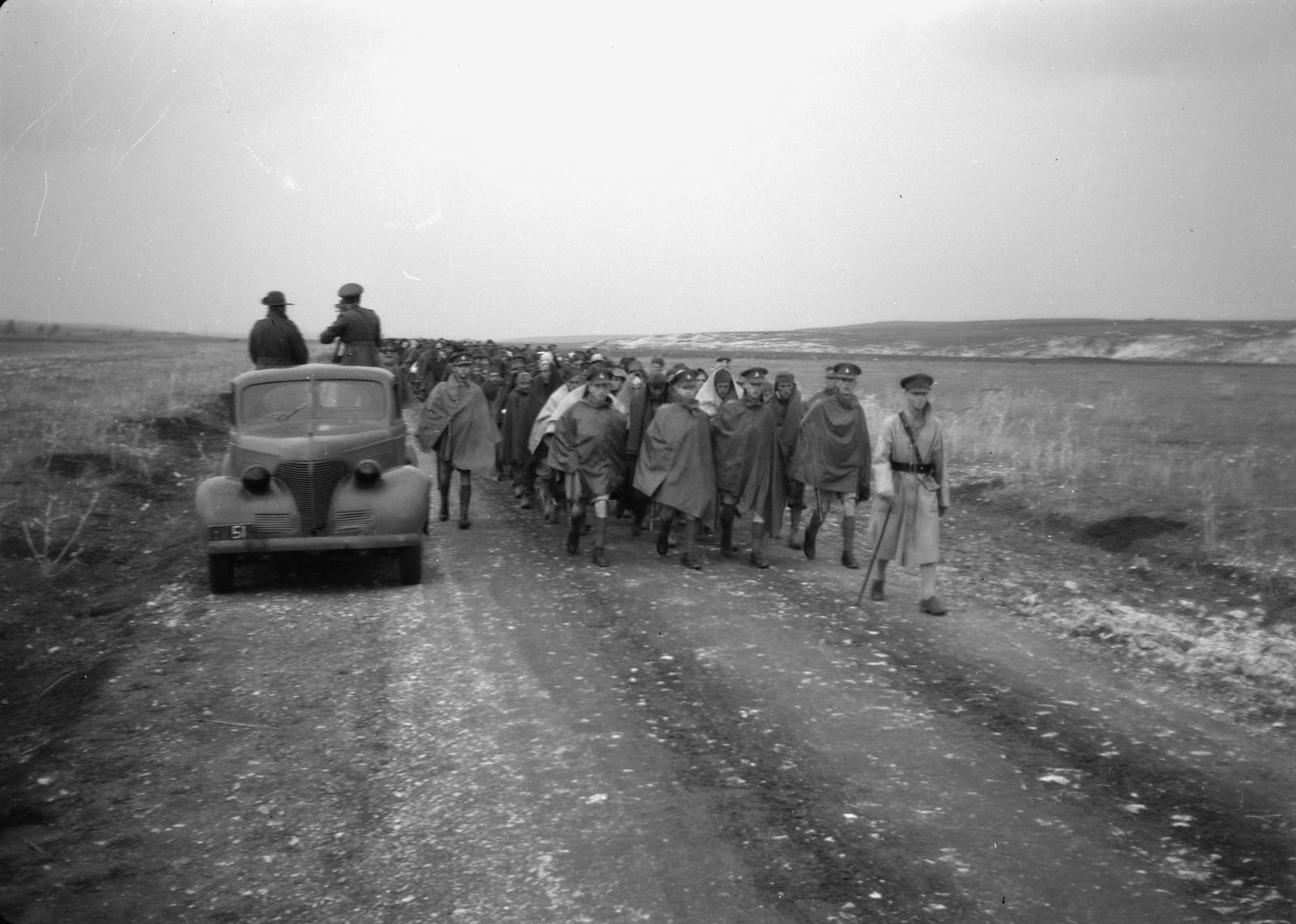 16. Колонна итальянских пленных идет по дороге под конвоем новозеландских солдат