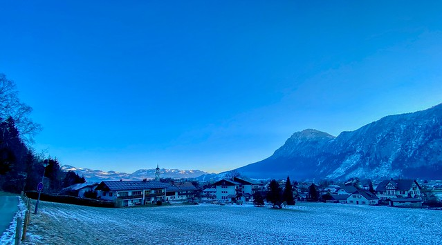 Winter morning panorama of Kiefersfelden in the river Inn valley with Zahmer Kaiser mountain range in Bavaria, Germany