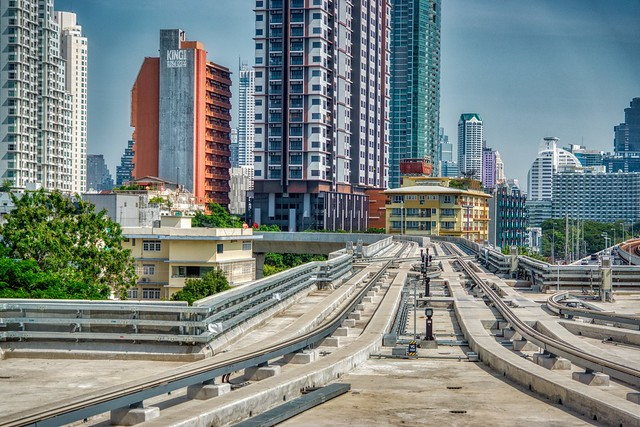 Tracks of the new BTS Gold Line People Mover in Bangkok, Thailand