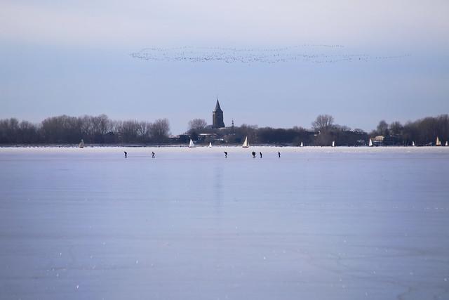 The vast frozen Gouwsea at Monnickendam