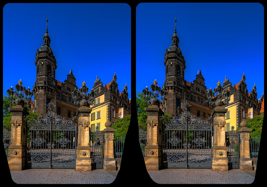 Stadtschloß Dresden 3-D / Kreuzblick / Stereoskopie