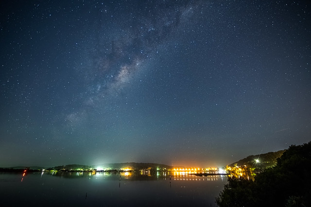 Stars and milky way waterscape