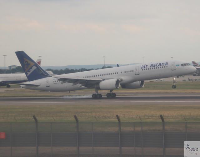 Air Astana B757-2G5 P4-FAS landing at LHR/EGLL