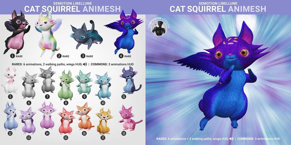 SEmotion Libellune Cat Squirrel Animesh