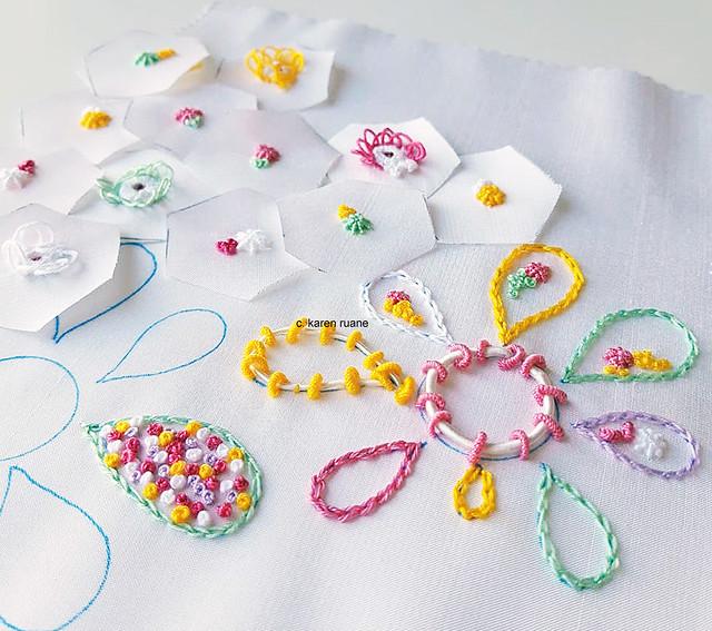 embroidery on silk, sampling
