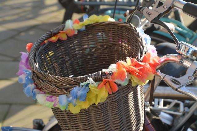 vrolijke fietsmand