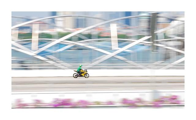 Motorbike on Bayfront bridge
