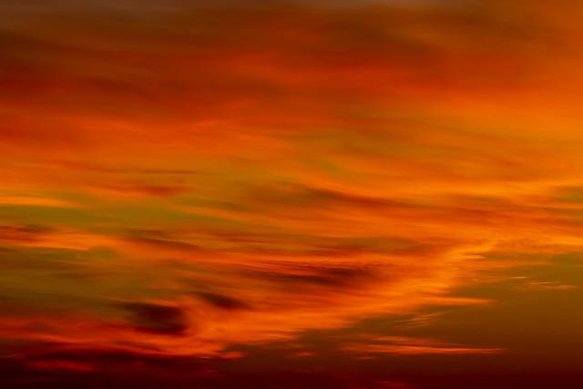 Saturday´s orange sunrise, Madrid, Spain