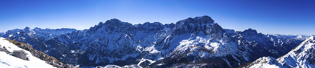 Panorama on the nord face of Montasio alpi Giulie