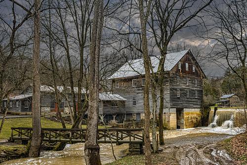 cooksmill mill gristmill wv westvirginia monroecounty greenville spillway creek indiancreek millpond sky clouds historic landscape bobbell nikon d800 trees winter