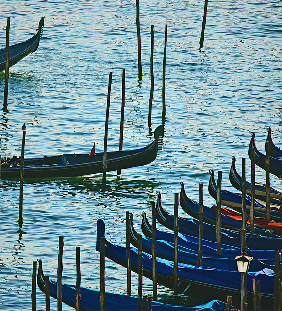 Venise. Au repos des gondoles.