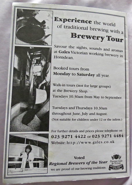Advert for Gales Ales Brewery Tour  -  Gales are long since gone having been taken over by Fullers who have themselves been taken over by the Japanese brewer know one in the UK really knows, Asahi