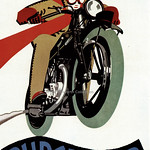 Sun, 2021-02-28 19:04 - Fairly leaping out of the hoarding is this superb image by Horace Taylor, the well known poster artist, who is excelling himself here  with a minimalist use of flat colour and simply the motorbike model in lettering.  The Rudge Four motor cycle was manufactured by the Rudge-Whitworth Co Ltd., of Birmingham and Coventry, that had been formed in 1894 to amalgamate the Rudge Cycle Company of Coventry and the Whitworth Cycle Company of Birmingham - both cities at the forefront of the 'new' safety bike industry. Like many companies they moved into motorised transport production with their first motorbike in 1911.  They had a reputation for innovation and the Rudge Four was first produced in 1924. By the mid-1930s, like many companies, the depression had a massive effect on their finances and in 1936/7 they were bought out by the radio, records and electrical manufacturer EMI with production moved to Hayes. By 1942 Rudge-Whitworth had been acquired by Raleigh who used the brand for a range of bicycles.