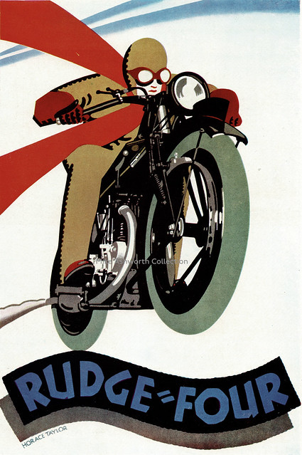 Rudge Four motorbike poster for Rudge-Whitworth Ltd., designed by Horace Taylor, 1927