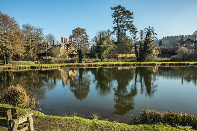 Weston Lakes in the valley of the River Tillingbourne. This is the village of Albury in the Surrey Hills.