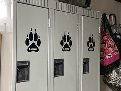 When you love your pack so much, everyone has their own locker for their things.