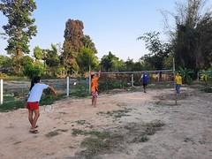 Playing badminton at Ajan Nat's house 2