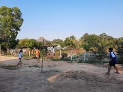 Playing badminton at Ajan Nat's house 1