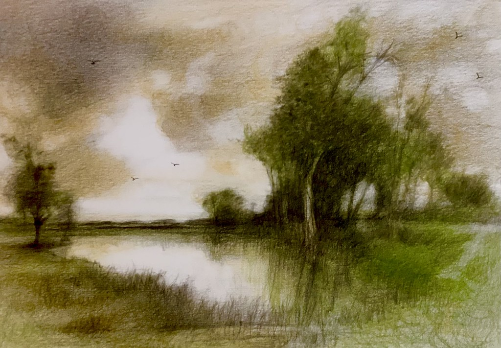 The Lake. Derwent Lightfast coloured pencil drawing on white card by jmsw. Last stage of 2.