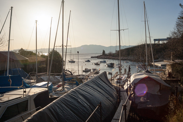 Late afternoon at the boat dry dock
