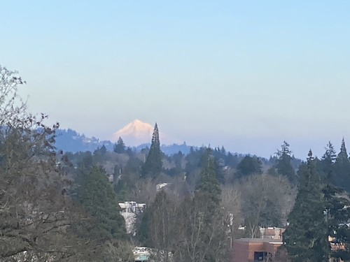 Distant hazy stratovolcano