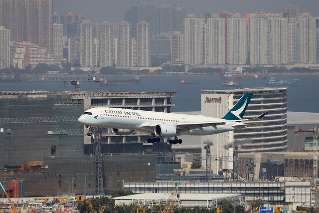 Cathay Pacific Airways A350-900 B-LRR landing HKG/VHHH