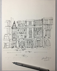59/365. Fleet Street, Jamaica. Quick pen sketch based on a charming picture of old buildings.