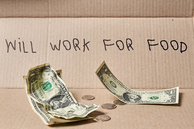 Will work for food on cardboard with money and coins