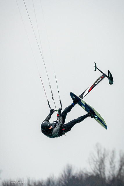 Kitesurfer soaring over Woodbine Beach