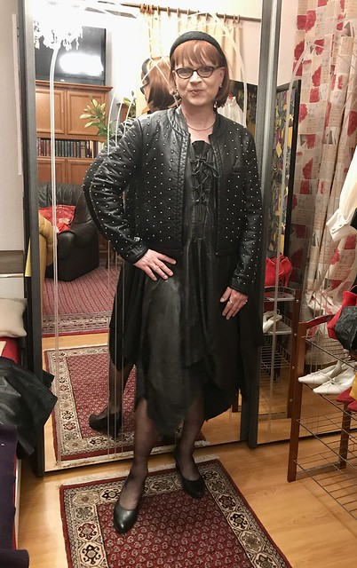 Trying on Connies leather dress