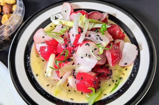The Master Stock Chicken menu - Marinated radishes with sesame