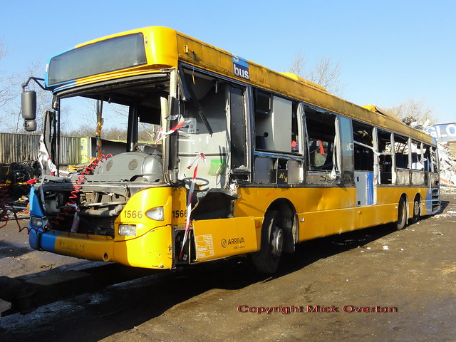 HJM´s penultimate Arriva bus Scania 1566 of the 130 bought almost 5 months ago arrives at the scrapping area after Fire Service training