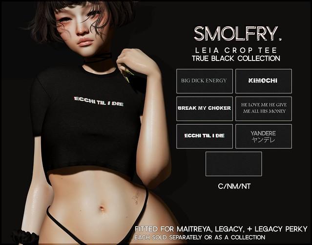 Smolfry. // Leia Crop Tee: True Black Collection