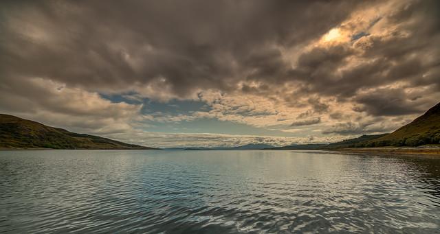 Dark clouds over Loch na Cairidh, Skye, Scotland.