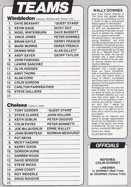 Wimbledon vs Chelsea - 1987 - Back Cover Page