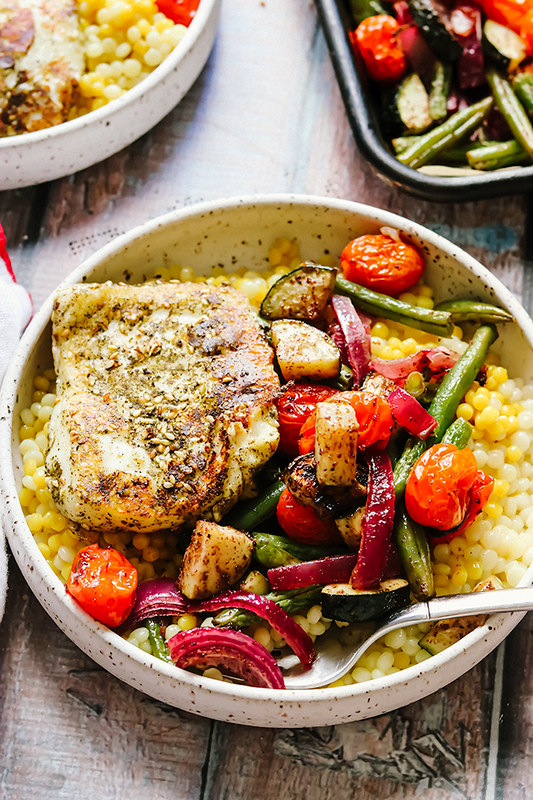 Za'atar Crusted Halloumi with Sumac Roasted Vegetables and Couscous