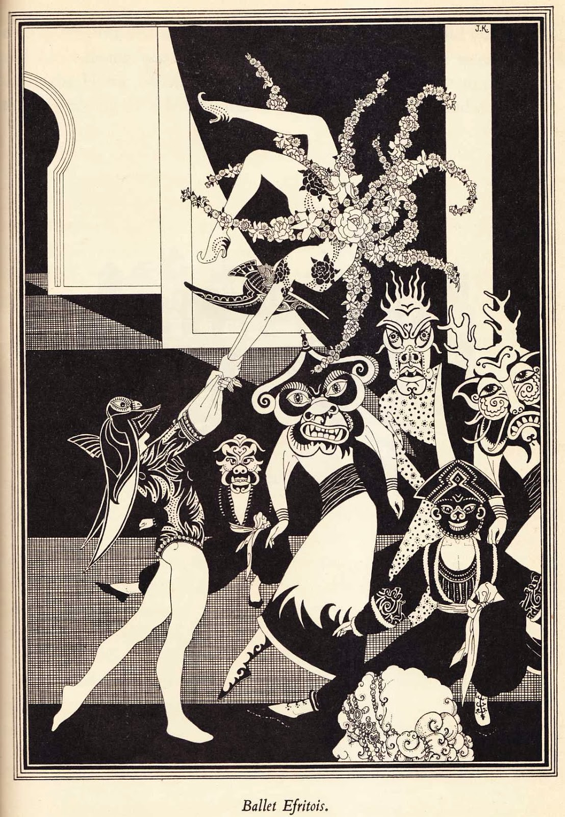 """John Kettelwell - Ballet Efritois - Illustration from """"The Story of Aladdin and the Wonderful Lamp,"""" 1928"""